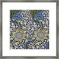 Sunflowers On Blue Pattern Framed Print