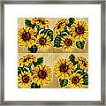 Sunflowers Pattern Country Field On Wooden Board Framed Print