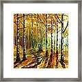 Sunny Birches - Palette Knife Oil Painting On Canvas By Leonid Afremov Framed Print