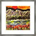 Sunset Behind Dark Hills Framed Print