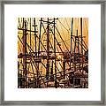 Sunset Boat Masts At Dock Morro Bay Marina Fine Art Photography Print Sale Framed Print