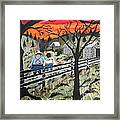 Sunset On The Fence Framed Print