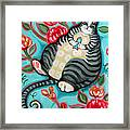 Tabby Cat On A Cushion Framed Print