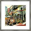 Tavern In The Village Urban Cafe Scene - A Cool Terrace Oasis On A Busy Hot Montreal City Street Framed Print