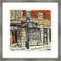 Taverne La Chic Regal Pointe St.charles Jazz Bar Montreal Paintings Winter Street Scene Original Art Framed Print