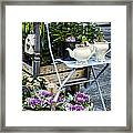 Teapots And Flowers Framed Print
