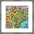 Texas Illustrated Map Framed Print
