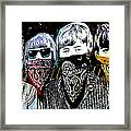 The Beatles wearing face masks Framed Print