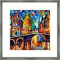 The Bridges Of Amsterdam - Palette Knife Oil Painting On Canvas By Leonid Afremov Framed Print