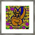 The Cat And His Fish Popart Framed Print