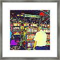 The Gambler Meets The One Armed Bandit In Casino Royale Standoff At High Noon Urban Casino Art Scene Framed Print