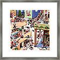 The Great Santa Shoot-out At The Mall Framed Print