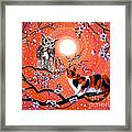 The Owl And The Pussycat In Peach Blossoms Framed Print