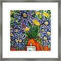 Blue Flowers Yellow And A Perfume Bottle Framed Print