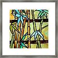 Stained Glass Tiffany Bamboo Panel Framed Print