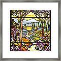 Tiffany Landscape Window Framed Print