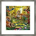 Tiger Family In The Jungle Framed Print by Jan Patrik Krasny