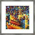 Tower - Palette Knife Oil Painting On Canvas By Leonid Afremov Framed Print