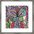 Tribal Mosaic Cat Garden Framed Print