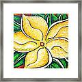 Tropical Abstract Pop Art Original Plumeria Flower Painting Pop Art Tropical Passion By Madart Framed Print