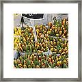 Tulips For Sale In Market, Close Up Framed Print