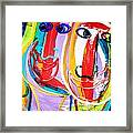 Two Abstract Faces Framed Print