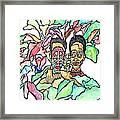 Two African Men In Leaves Framed Print