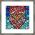 Two Hearts - Mosaic Art By Sharon Cummings Framed Print