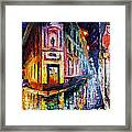 Two Streets - Palette Knife Oil Painting On Canvas By Leonid Afremov Framed Print