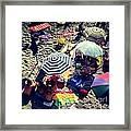 Umbrellas At The Beach Framed Print by H Hoffman