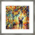 Under One Umbrella - Palette Knife Figures Oil Painting On Canvas By Leonid Afremov Framed Print