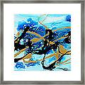Under The Sea Original Abstract Blue Gold Painting By Madart Framed Print