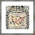 United States Map 1876 Framed Print