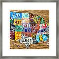 Usa License Plate Map Car Number Tag Art On Light Brown Stained Board Framed Print by Design Turnpike