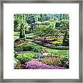 Vancouver Butchart Sunken Gardens Beautiful Flowers No People Panorama Framed Print