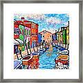 Venezia Colorful Burano Framed Print