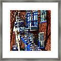 Verdun Duplex Stairs With Birch Tree Montreal Winding Staircases Winter City Scene Carole Spandau Framed Print