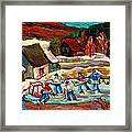 Vermont Pond Hockey Scene Framed Print by Carole Spandau