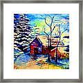 Vermont Winterscene In Blues By Montreal Streetscene Artist Carole Spandau Framed Print