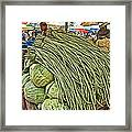 Very Long String Beans In Mangal Bazaar In Patan-nepal Framed Print