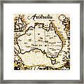 Vintage Australia Map Framed Print