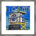 Vintage Florida Travel Style Artwork Framed Print