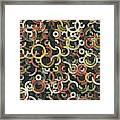 Vintage Geometric Circle Segment Pattern Framed Print