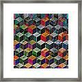 Vintage Geometric Cubes Framed Print