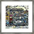 Waiting For The 80 Bus Montreal Memories Winter City Scene Painting January Art Carole Spandau Art Framed Print