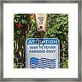 Veteran Parking Sign Framed Print