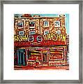 Warshaw's Bargain Fruit Store Rue St Laurent Montreal Paintings City Scene Art Carole Spandau Framed Print