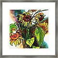 Sunflowers On The Rise Framed Print