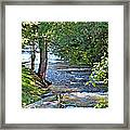 Waterfall And Hammock In Summer Framed Print
