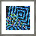 When Squares Merge Blue Framed Print